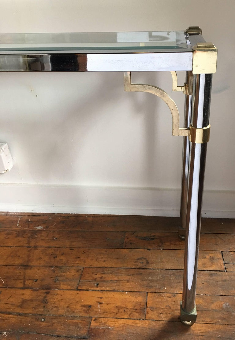 John Vesey Style Mid-Century Modern Brass Chrome & Glass Console Table, 1970s For Sale 3