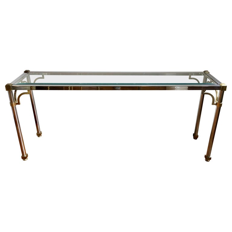 John Vesey Style Mid-Century Modern Brass Chrome & Glass Console Table, 1970s For Sale