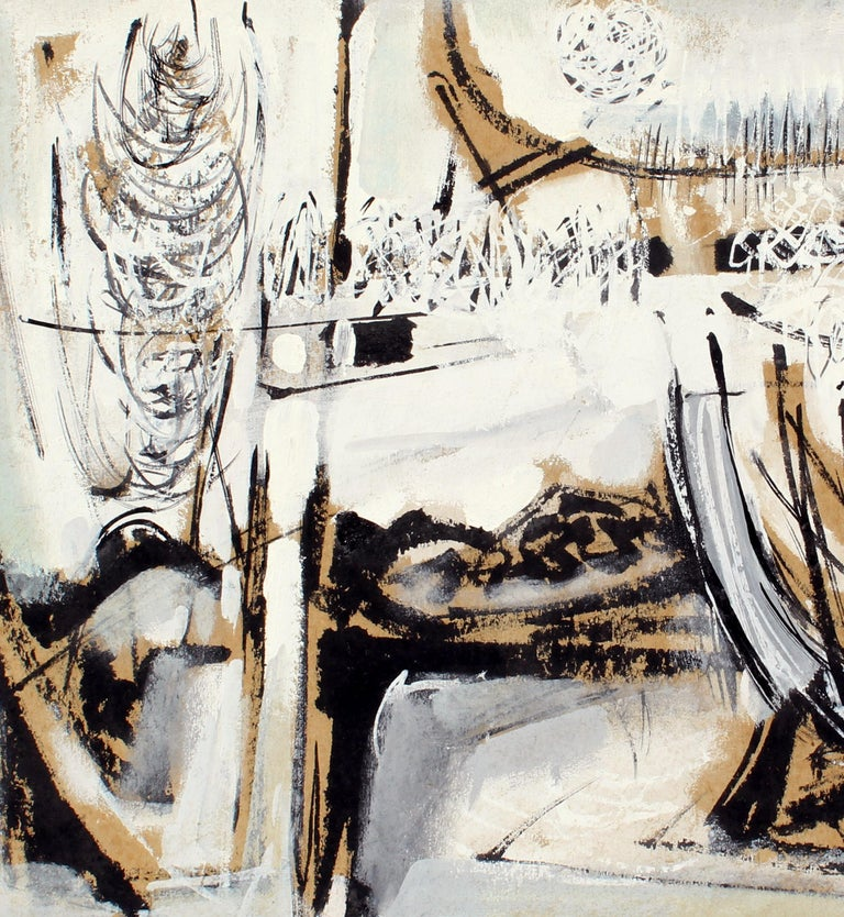 John Hatch American Cubist Abstract Oil Painting 1950's Mid C Black and White  For Sale 1