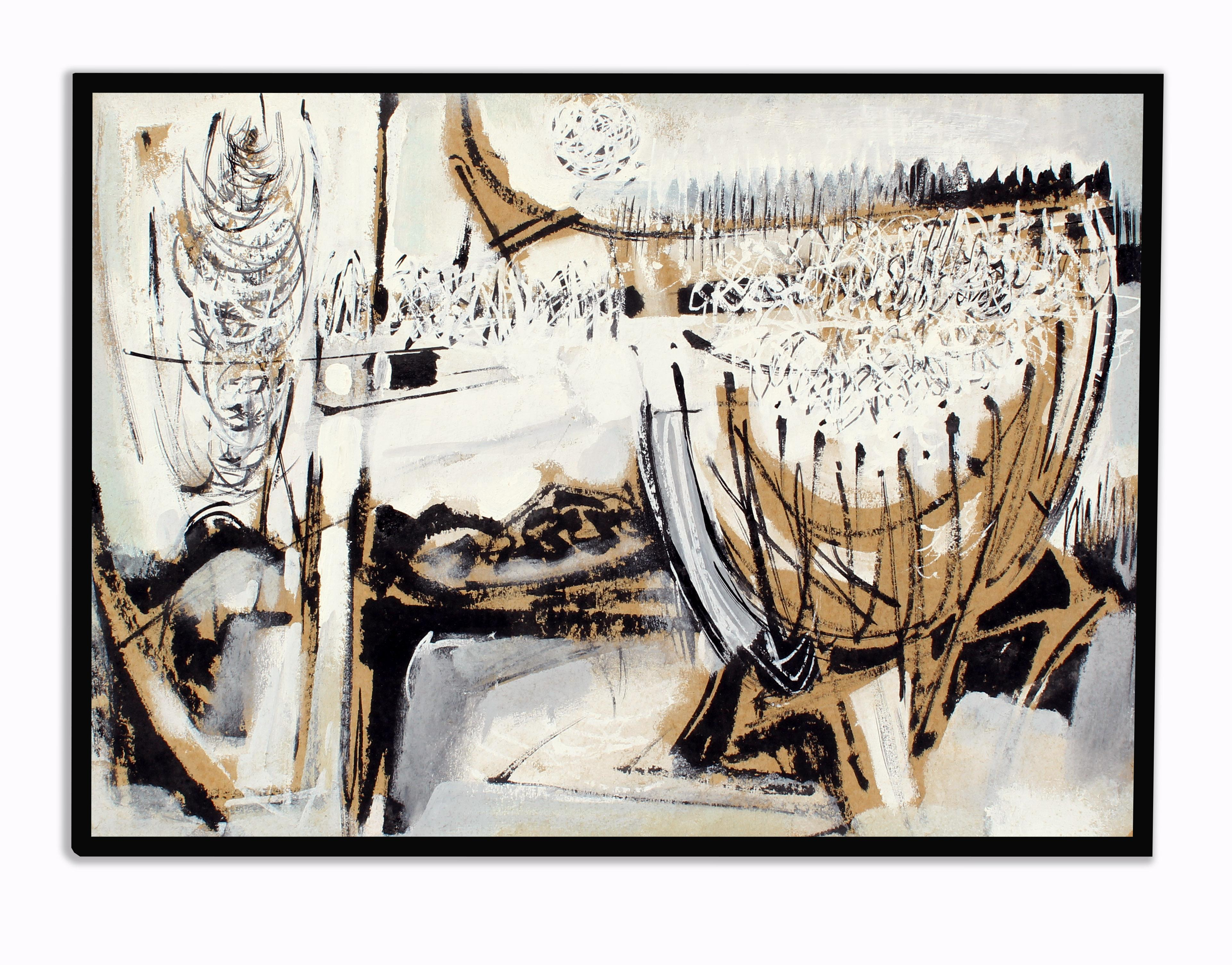 John Hatch American Cubist Abstract Oil Painting 1950's Mid C Black and White