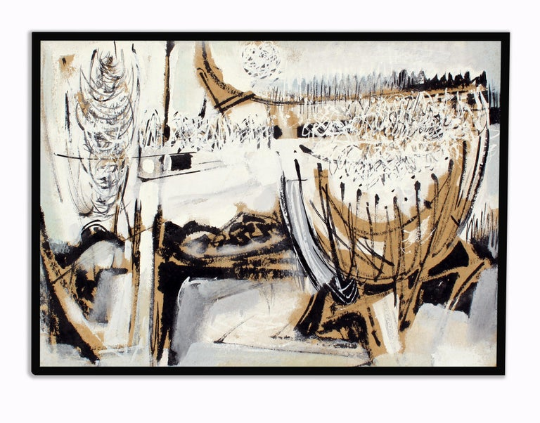 JOHN W. HATCH Abstract Painting - John Hatch American Cubist Abstract Oil Painting 1950's Mid C Black and White