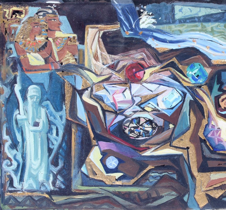 John Hatch American Cubist Abstract Oil Painting 1950's Mid C Egyptian Mural For Sale 1