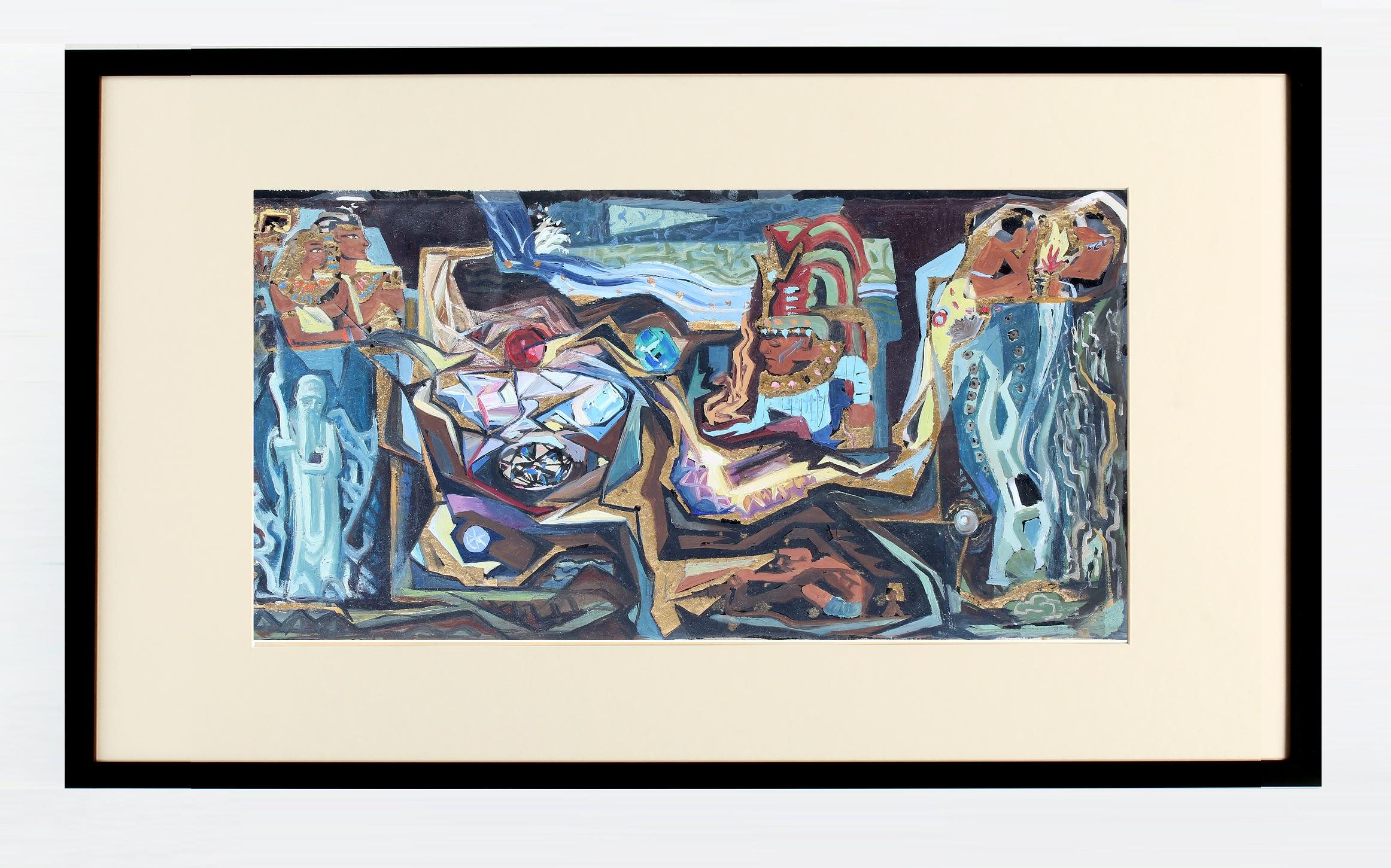 John Hatch American Cubist Abstract Oil Painting 1950's Mid C Egyptian Mural