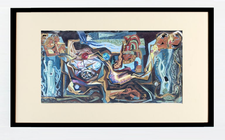 JOHN W. HATCH Abstract Painting - John Hatch American Cubist Abstract Oil Painting 1950's Mid C Egyptian Mural
