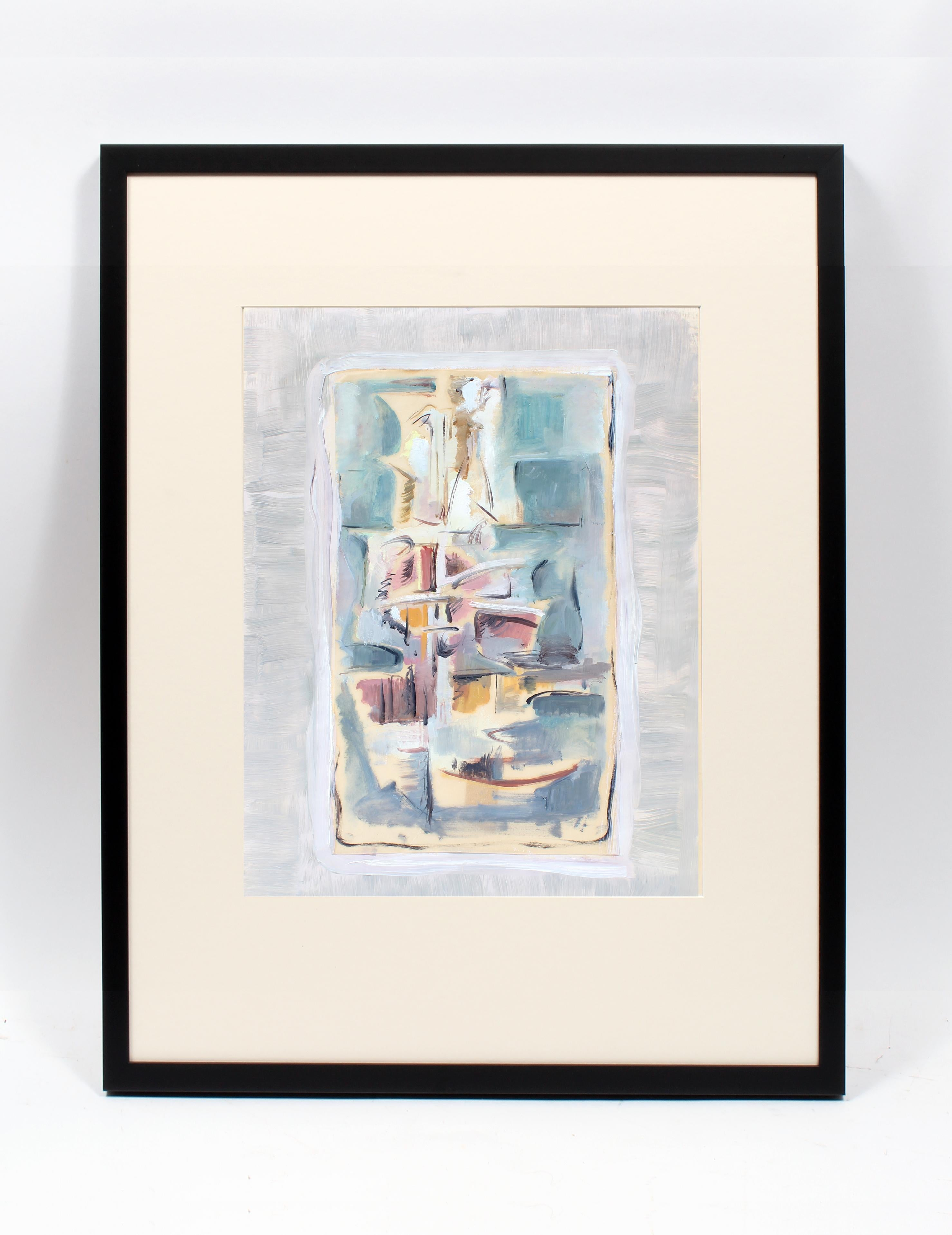 John Hatch American Cubist Abstract Oil Painting 1950's Mid C Fantastic Color