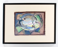 John Hatch American Cubist Abstract Oil Painting 1950's Mid C Fantasy Abstract