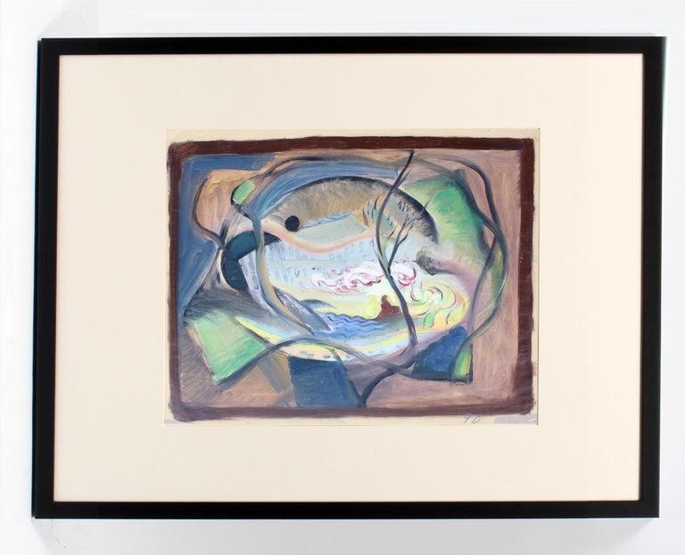 JOHN W. HATCH Abstract Painting - John Hatch American Cubist Abstract Oil Painting 1950's Mid C Fantasy Abstract