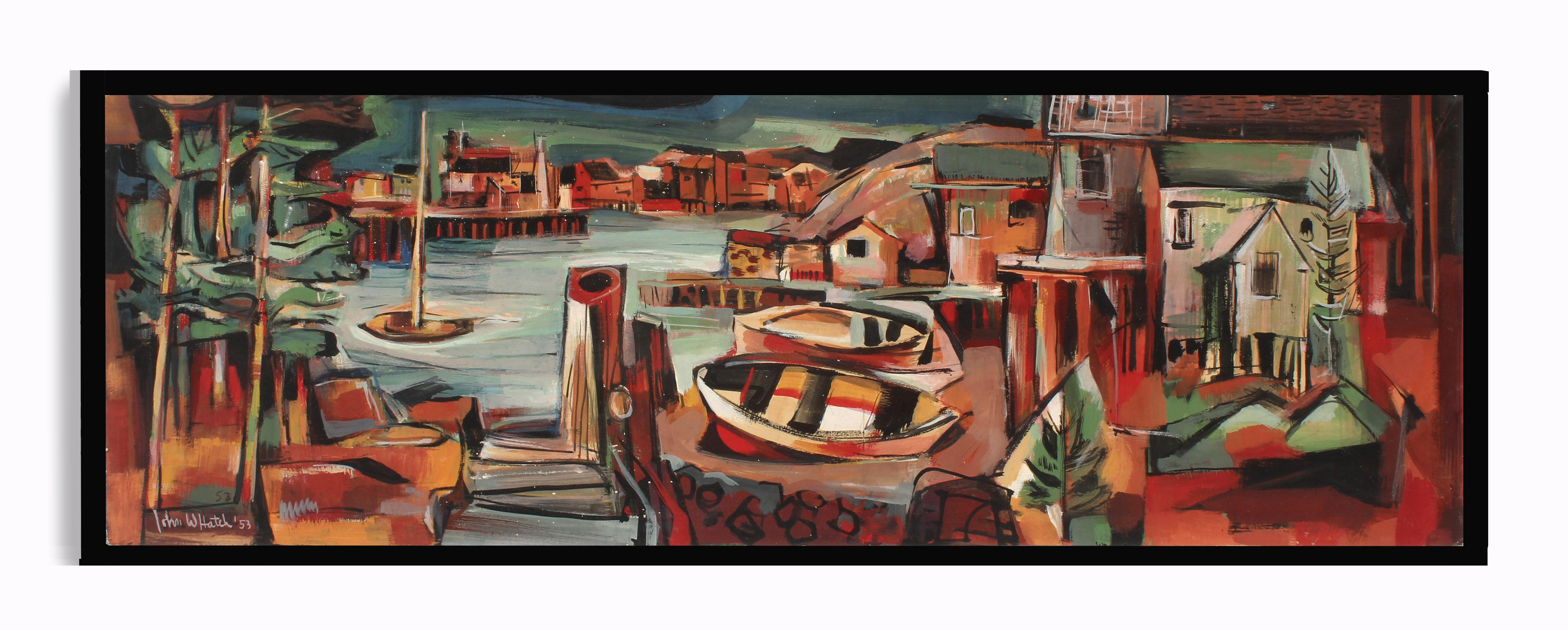 John Hatch American Cubist Landscape Oil Painting Colorful Harbor Seascape 1953