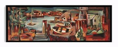 John Hatch American Cubist Landscape Oil Painting Colorful Harbor Seascape 1953