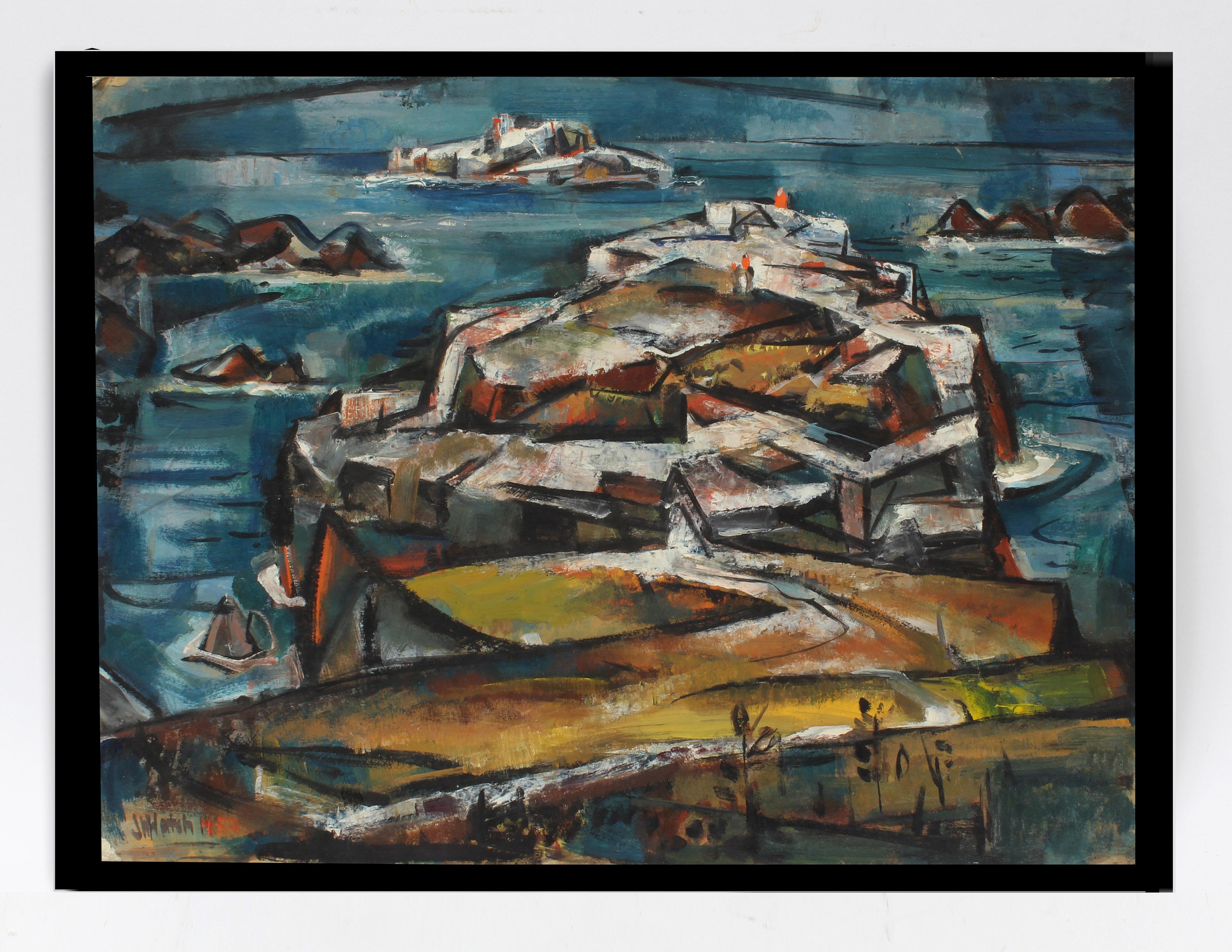 John Hatch American Cubist Landscape Oil Painting Massachusetts Seascape 1952