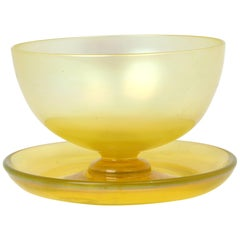 John Walsh Walsh English Art Deco Iridescent Sunbeam Pedestal Glass Bowl