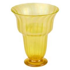 John Walsh Walsh Large Iridescent Sunbeam Art Glass Vase, circa 1929