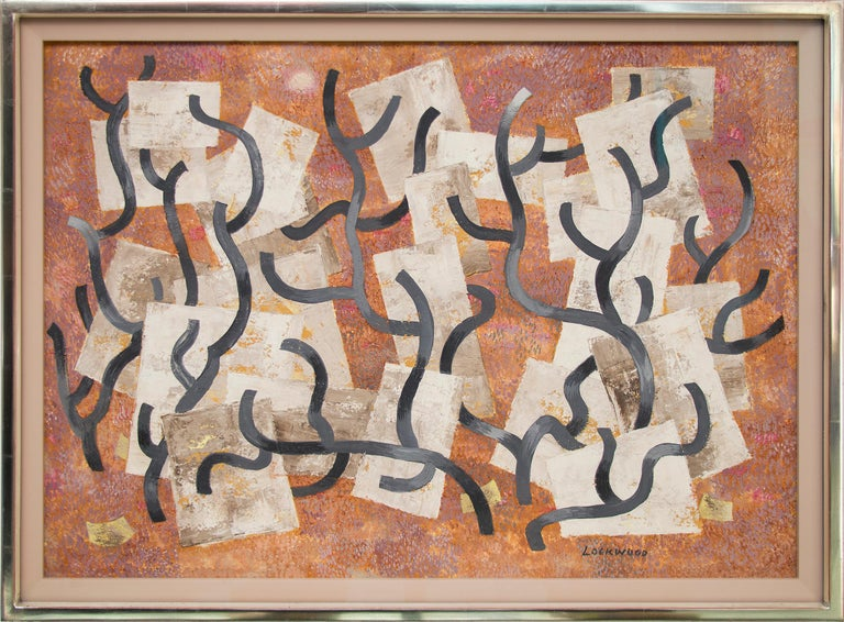 """Original mid-century modern era abstract painting by New Mexico modernist, Ward Lockwood (1894-1963).  """"Growth"""", circa 1950s is an original painting with casein and india ink and is signed by the artist lower right and titled verso.  Dominant colors"""
