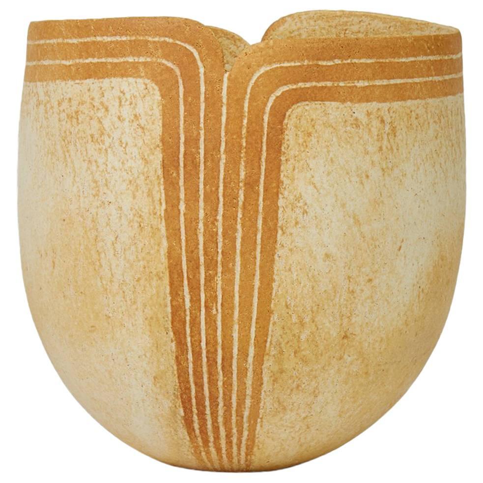John Ward Studio Pottery Vase with Shaped Rim, 2012