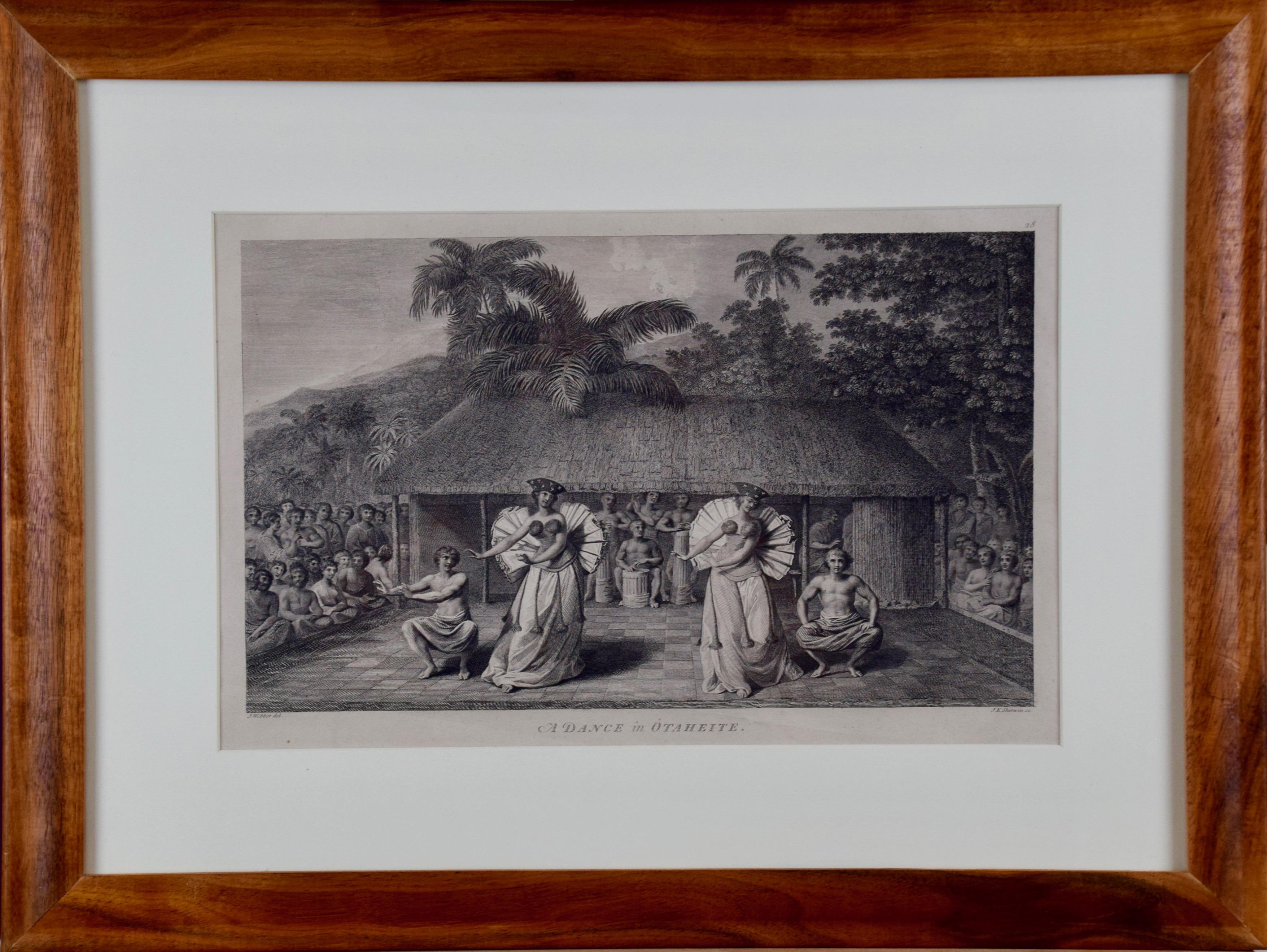 """""""A Dance in Otaheite"""" (Tahiti), Engraving from Captain Cook's 3rd Voyage"""