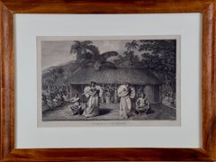 """A Dance in Otaheite"" (Tahiti), Engraving from Captain Cook's 3rd Voyage"