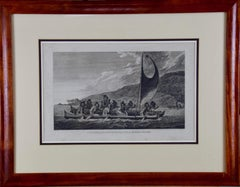 """Canoe of the Sandwich Islands"" (Hawaii), Engraving of Captain Cook's 3rd Voyage"