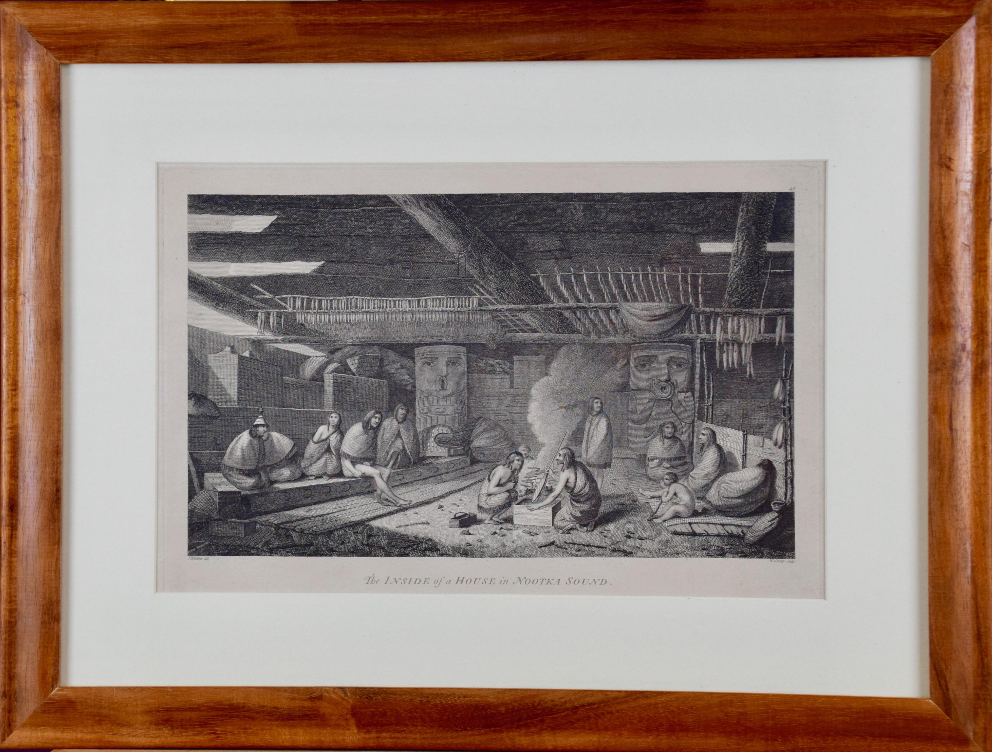 """""""Inside of a House in Nootka Sound"""" (Canada) from Captain Cook's 3rd Voyage"""