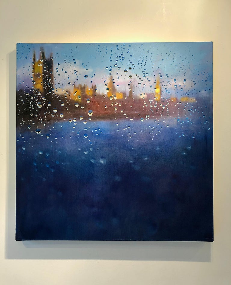 Storm of Parliament - London hyperrealism City landscape oil painting England  - Painting by John Welsh