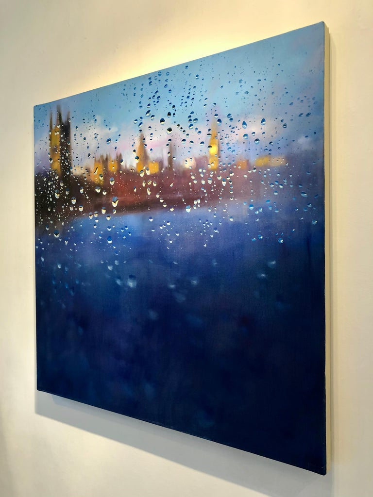Storm of Parliament - London hyperrealism City landscape oil painting England  - Abstract Expressionist Painting by John Welsh
