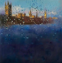 Storm of Parliament - London hyperrealism City landscape oil painting England