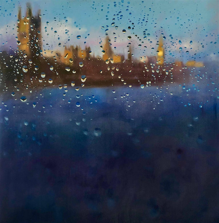 John Welsh Abstract Painting - Storm of Parliament - London hyperrealism City landscape oil painting England