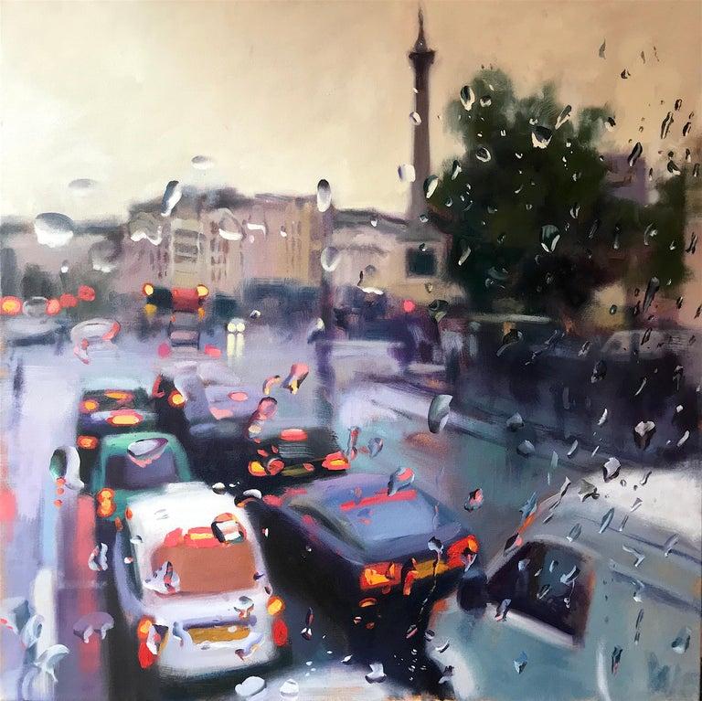 John Welsh Landscape Painting - Trafalgar Square - Cityscape Landscape oil painting Contemporary Modern London