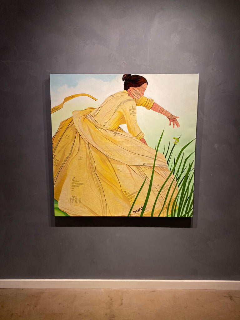 Leap- acrylic and sewing patterns on canvas, figurative painting  - Contemporary Mixed Media Art by John Westmark