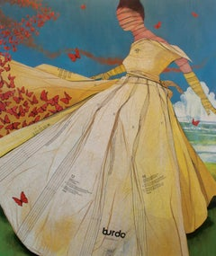 Migration- acrylic painting with vintage sewing patterns on canvas