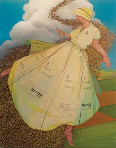 Queen Bee- acrylic painting with vintage sewing patterns on canvas