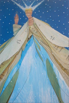 Snow Princess- acrylic and sewing patterns on canvas in blues inspired by Frozen