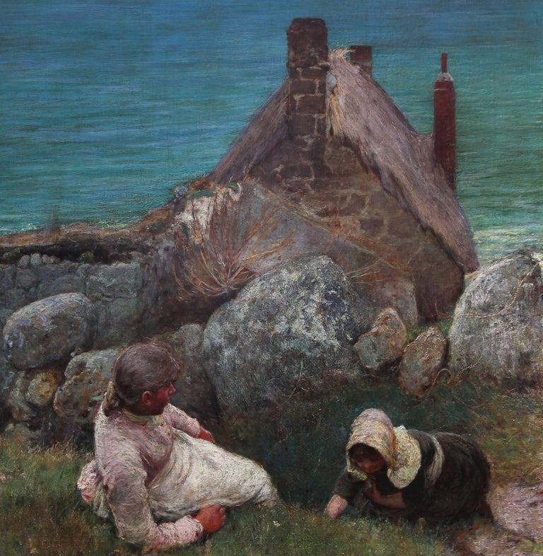 Over the Sea - Sennen - British 19thC Newlyn School oil painting women seascape 1