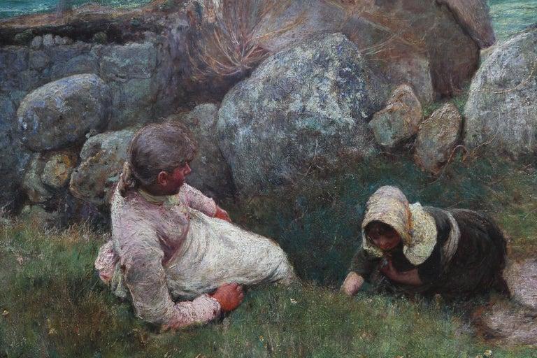Over the Sea - Sennen - British 19thC Newlyn School oil painting women seascape 2