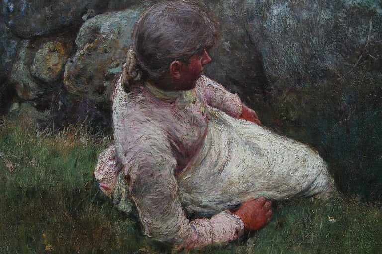 Over the Sea - Sennen - British 19thC Newlyn School oil painting women seascape 3