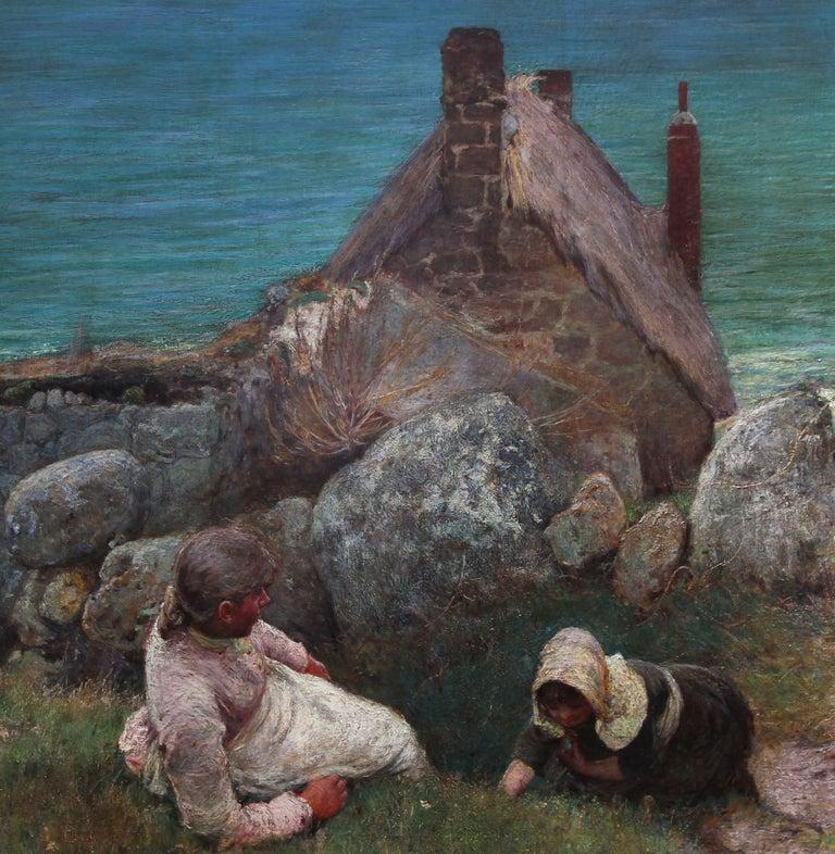 Over the Sea - Sennen - British 19thC Newlyn School oil painting women seascape 7