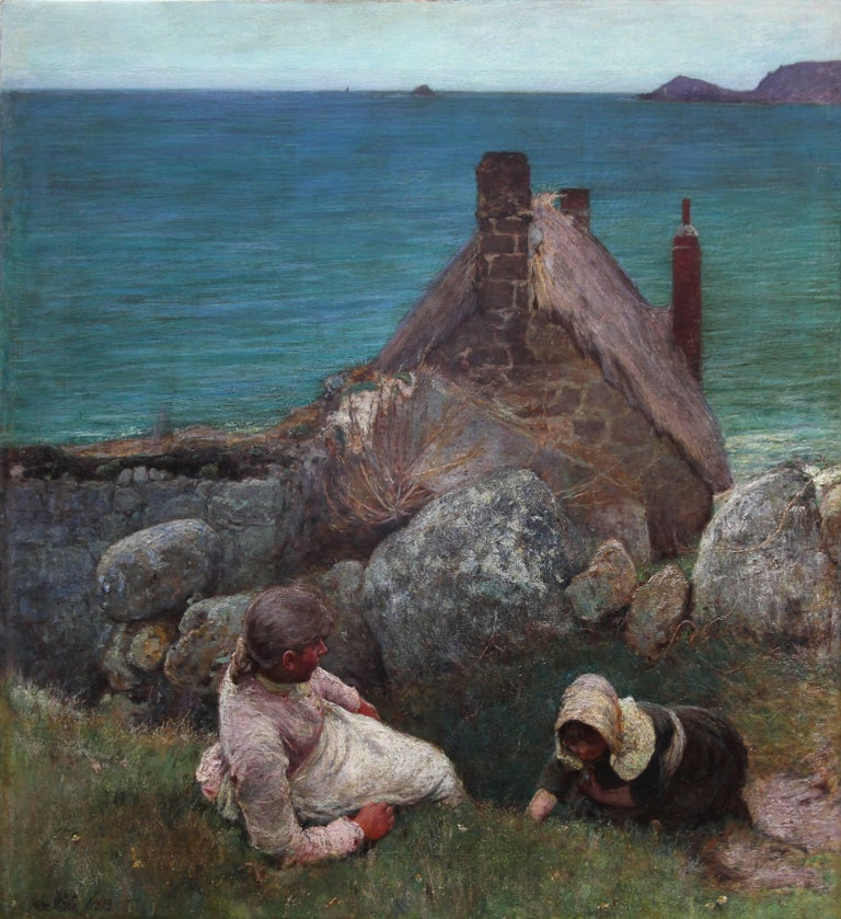 A masterpiece of British Newlyn School oil painting by John White. It depicts  two sisters overlooking the sea on a hilltop. Painted at Sennen,  the girls look out over the sea towards Cape Cornwall and the Brison Rocks. Painted in 1883 this oil on