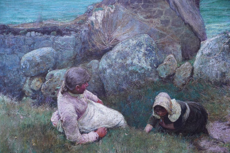 This superb Victorian exhibited oil painting is a masterpiece of British Newlyn School art by John White. The painting depicts a mother and child overlooking the sea on a hilltop. The painting was painted at Sennen in Cornwall and they look out over