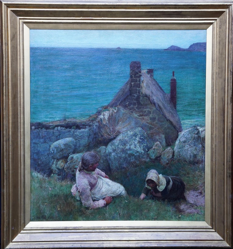 John White Landscape Painting - Over the Sea, Sennen - British Victorian coastal portrait oil painting Cornwall