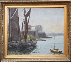 Abandoned Thames Barges at  Mistley - British 30's exhibited marine oil painting