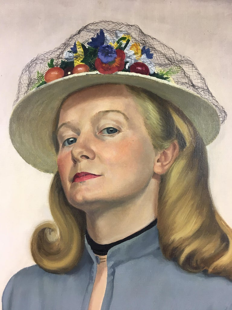 The New Hat - 1940s British Portrait of a Lady by John Whitlock Codner For Sale 1