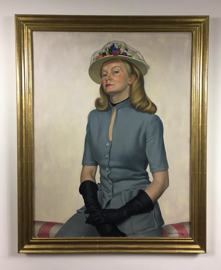 The New Hat - 1940s British Portrait of a Lady by John Whitlock Codner For Sale 4