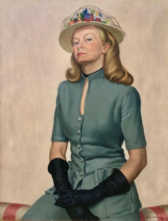 The New Hat - 1940s British Portrait of a Lady by John Whitlock Codner