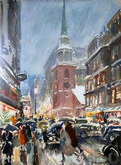 Christmas Rush, Washington Street, Boston Wintertime Watercolor