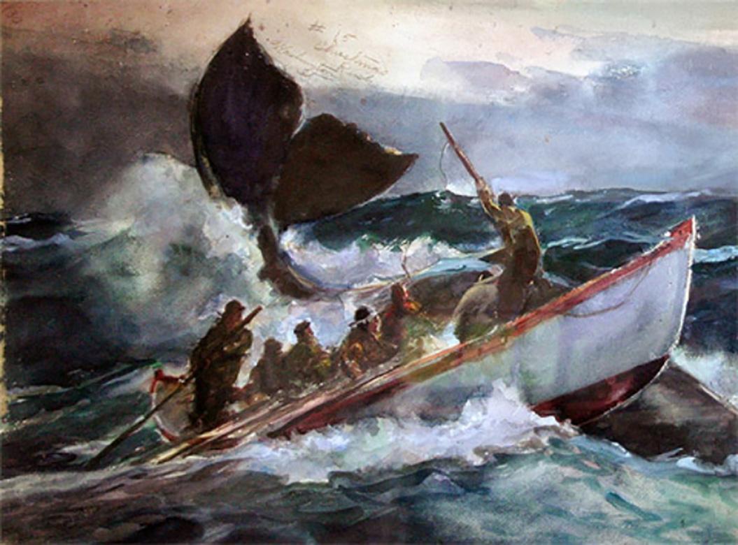 Seascape; Christmas Rush, Washington Street John Whorf Watercolor