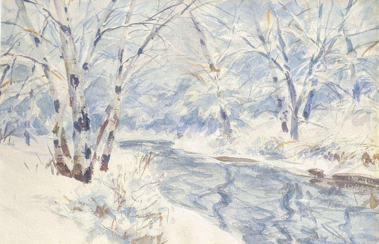 """""""Snow Palace,"""" John Whorf, American Impressionist Winter Landscape Watercolor"""