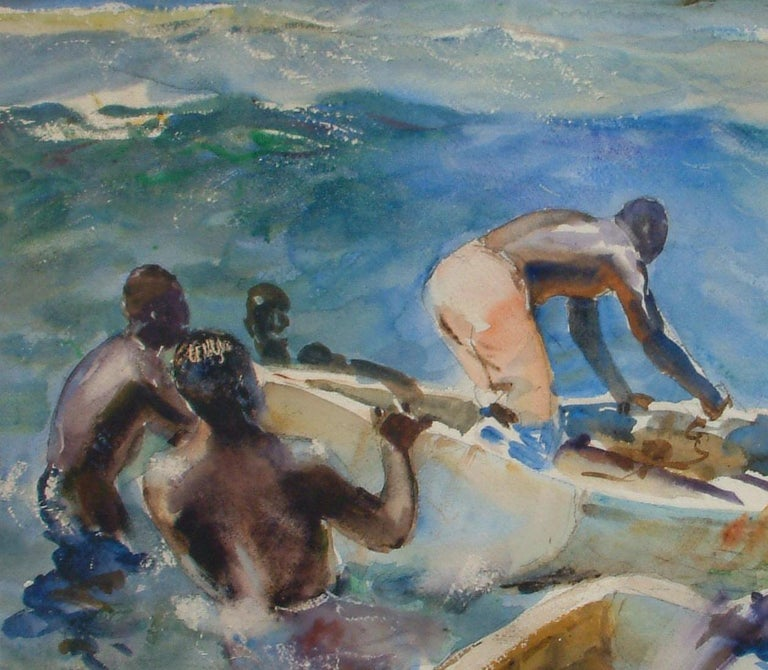 John Whorf Watercolor, Morning, Barbados In Excellent Condition For Sale In Phoenix, AZ