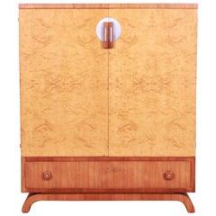 John Widdicomb Art Deco Burl Wood and Walnut Gentleman's Chest, Newly Refinished