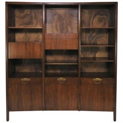 John Widdicomb Bow Front Freestanding Wall Unit Designed by Bert England