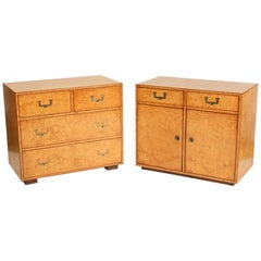John Widdicomb campaign style Burl Ash Chest of Drawers and Matching Cabinet