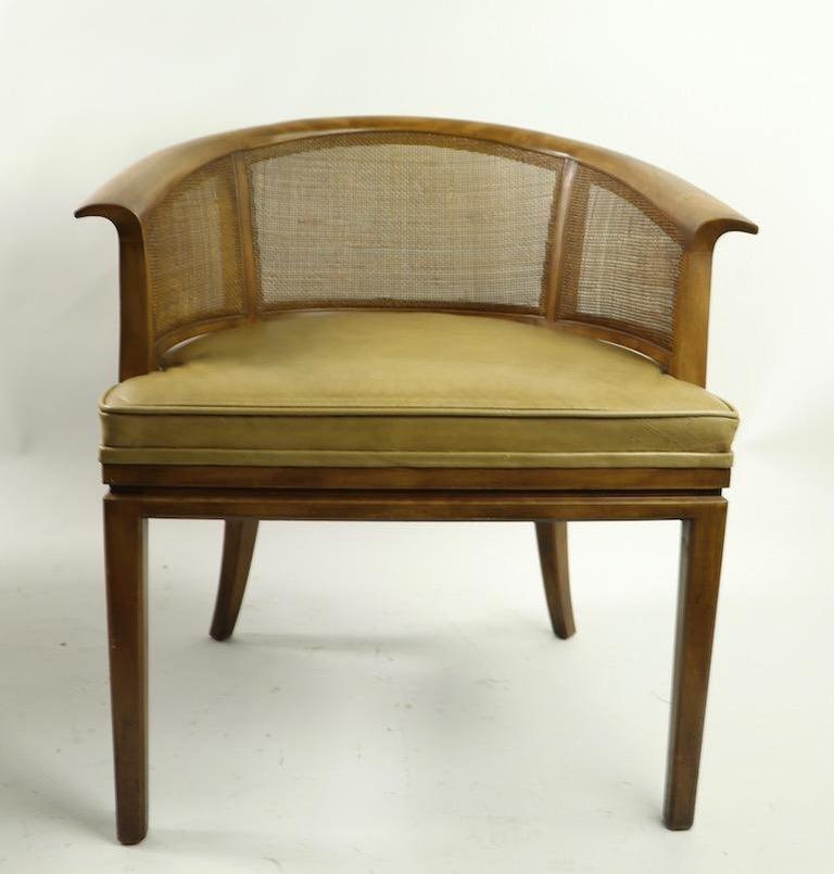 Mid-Century Modern John Widdicomb Caned Back Lounge Chair For Sale